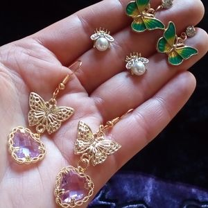 Dainty Golden Insect Earring Trio
